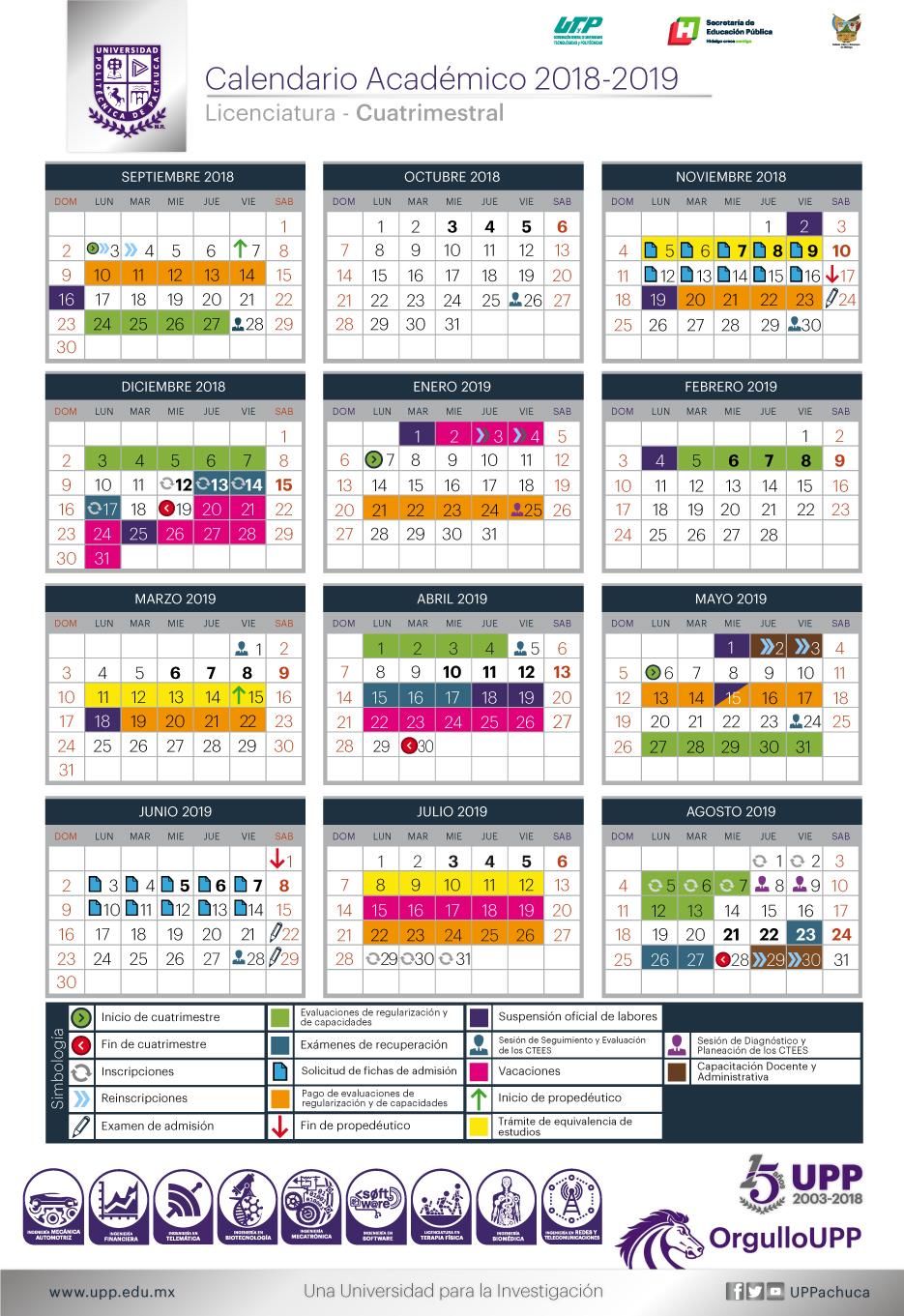 Calendario De Hacienda 2020.Calendario Academico Ciclo Escolar 2018 2019 Servicios